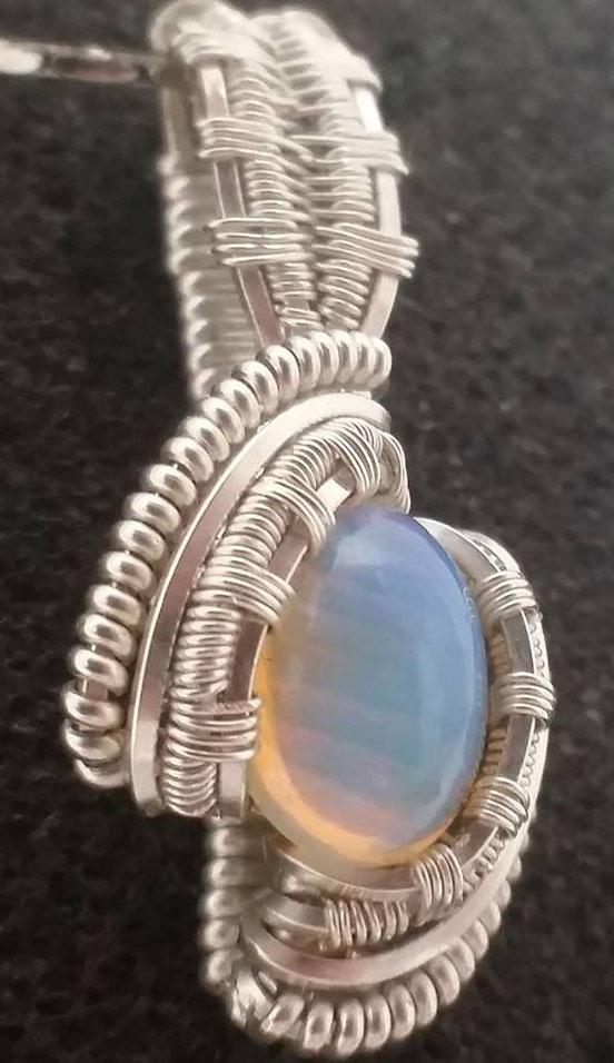 Wirewrapped moonstone pendant. custom orders available.